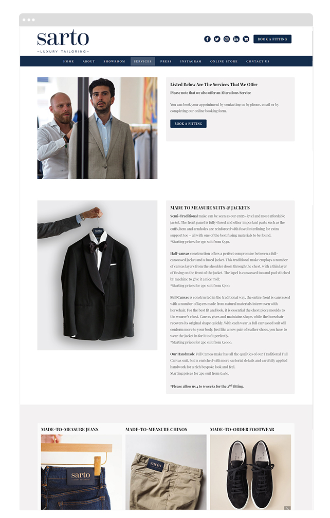 Sarto Luxury Tailoring PROFICI